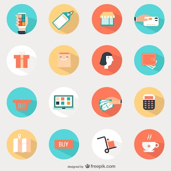 Shopping round icons set
