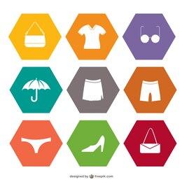 Shopping set of flat icons