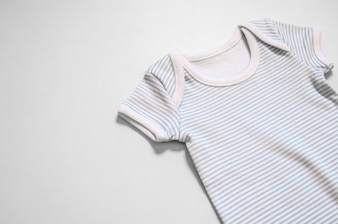 Short Sleeve Baby clothes in white on white background