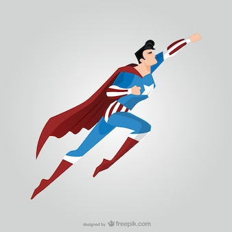 Side view of flying comic superhero