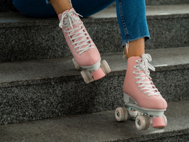 Side view of roller skates and stairs