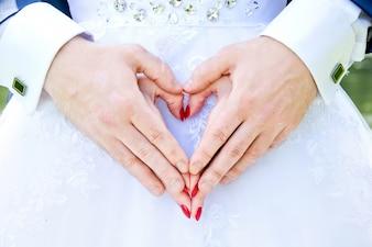 家族のカップルの女性クローズアップに署名