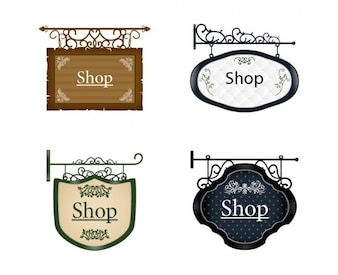 Signboards old style vectors