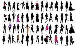 silhouette of fashion girls
