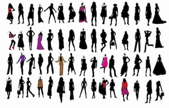 silhouette of fashion girls