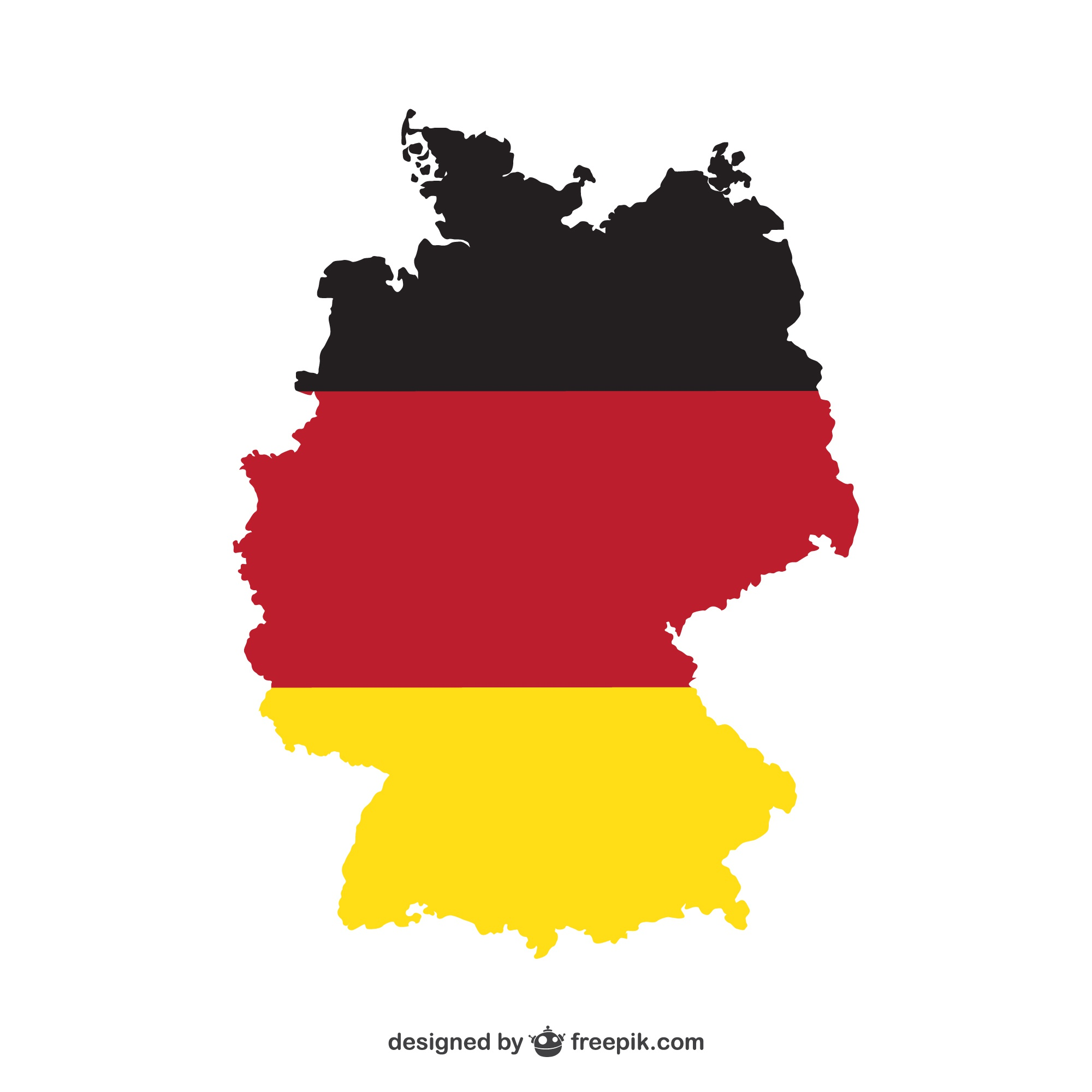 Silhouette of Germany and flag
