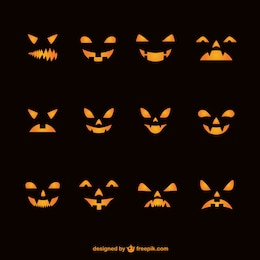 Silhouette of halloween pumpkins faces