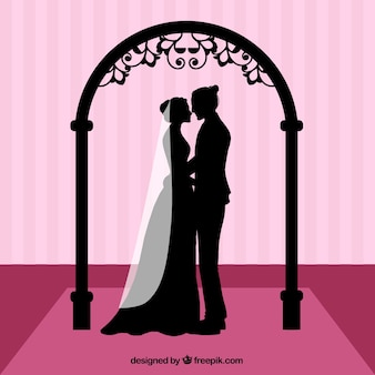 Silhouettes of a wedding