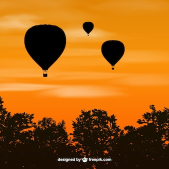 Silhouettes of hot air balloons