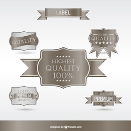Silver premium labels and badges