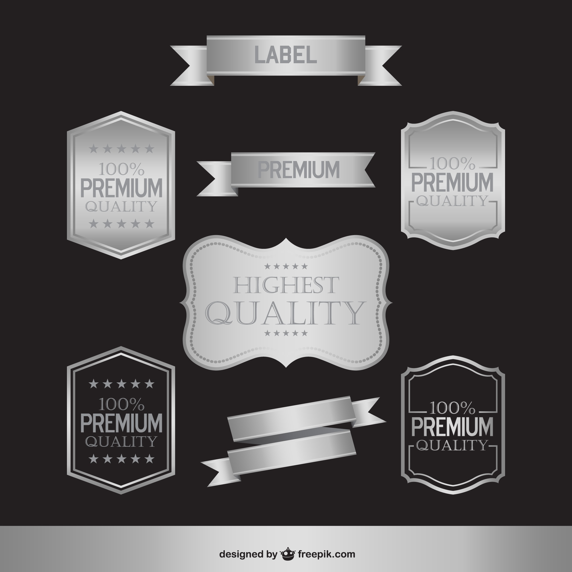 Silver shiny labels and badges