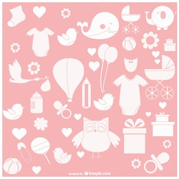 Simple baby vector icons