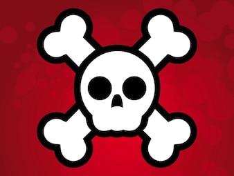 simple illustration Pirate skull flag vector