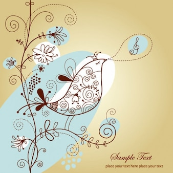 singing bird with floral vector illustration