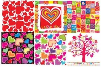 six valentine backgrounds