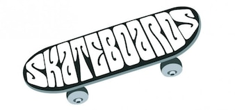 Skateboard image from top view