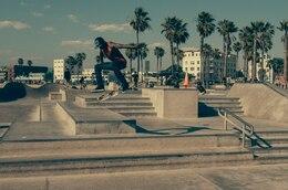 Skater boy practicing tricks