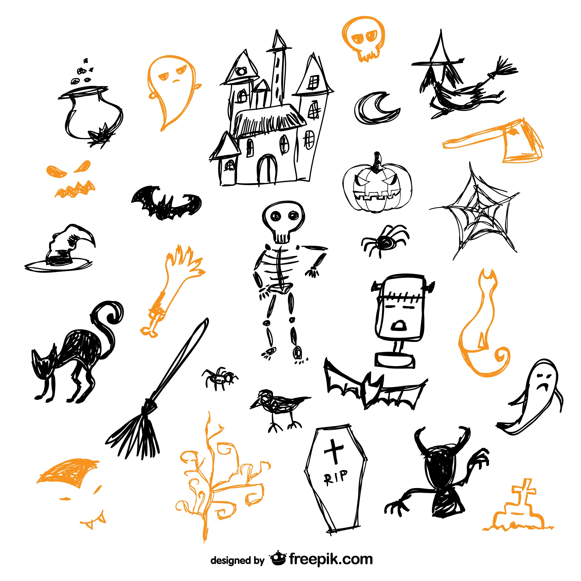 Sketch of halloween icons vector set
