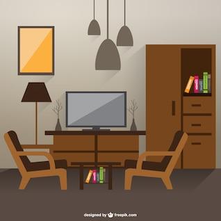 Sketch of living room interior