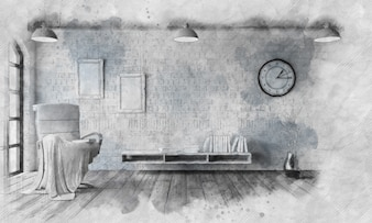 Sketched image of a chair in modern apartment setting