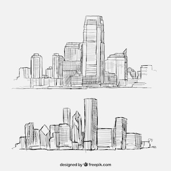 Sketchy city buildings