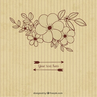 Sketchy floral background in retro style