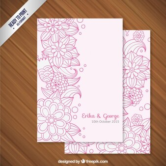 Sketchy floral wedding invitation
