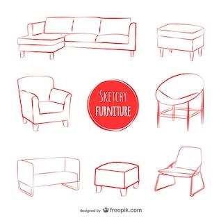 Sketchy furniture vectors