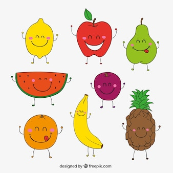 Sketchy happy fruits