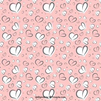 Sketchy hearts pattern