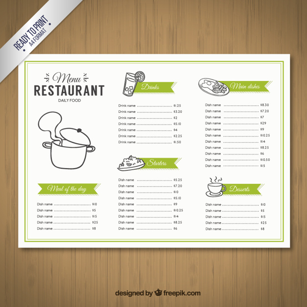 Sketchy menu template