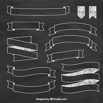 Sketchy ribbons on blackboard