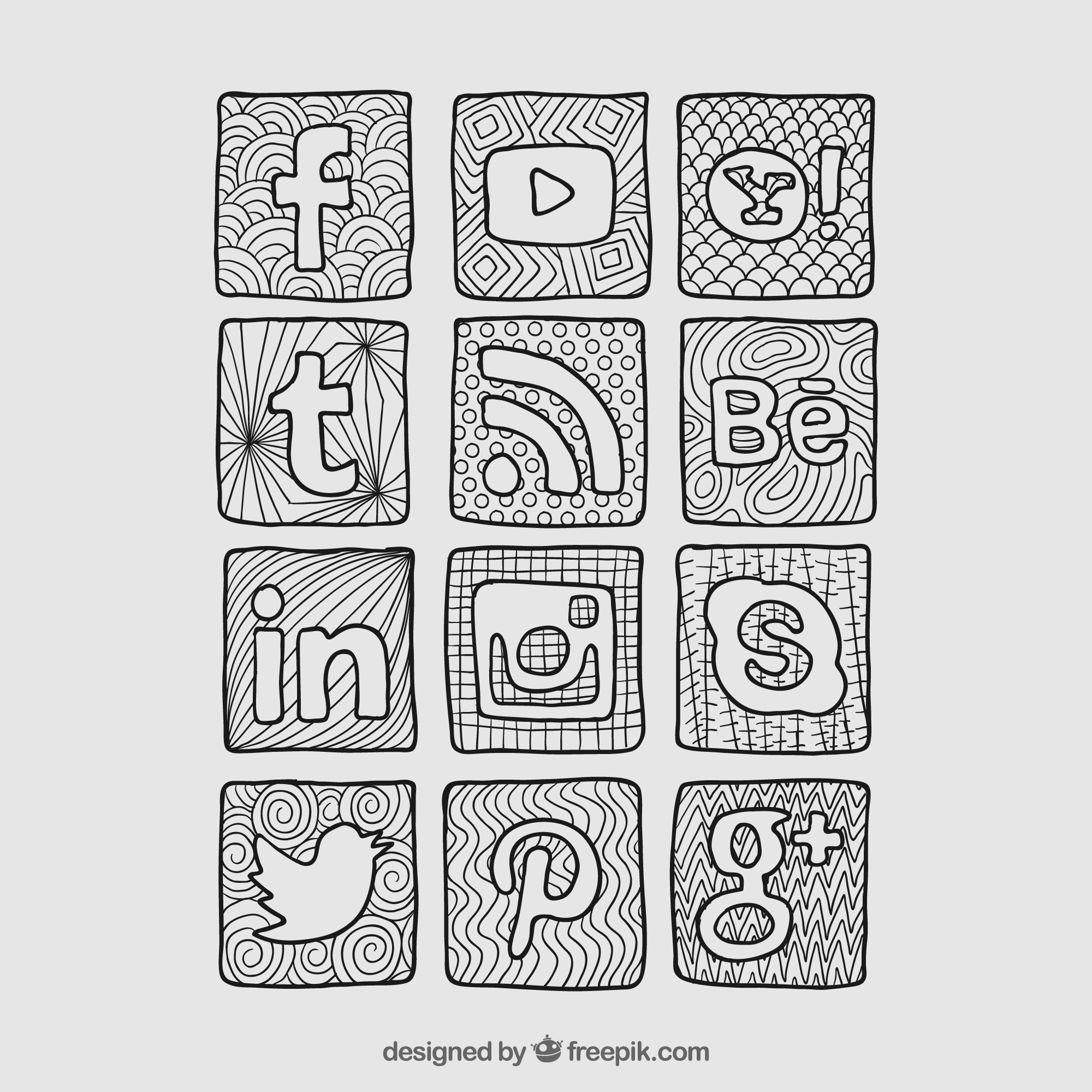 Sketchy social network icons