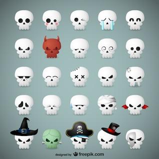 Skull emoticons for Halloween