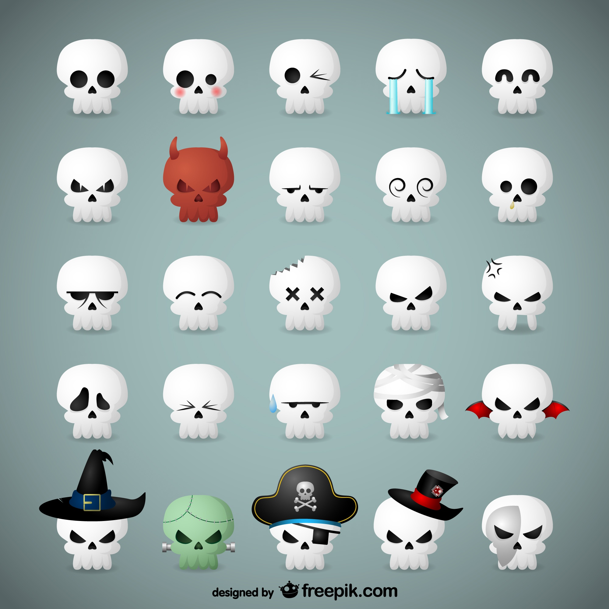 Skull emoticons for Halloween