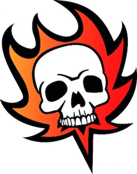 Skull fire cartoon icon vector