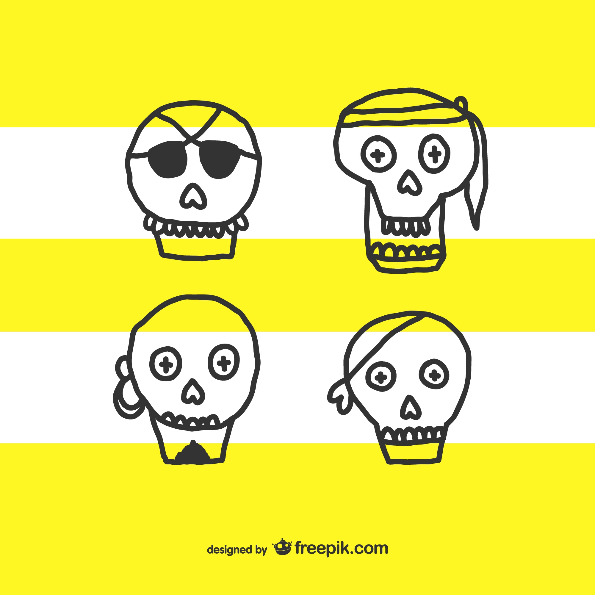 Skull hand drawn cartoon set