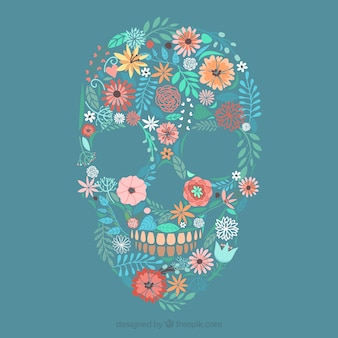 Skull made of flowers