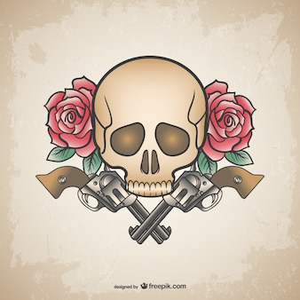 Skull tattoo guns and flowers design