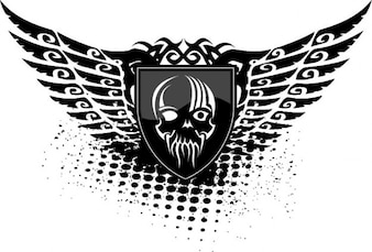Skull wings shield black icon vector