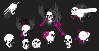 Skull with Wings Free Vector Illustration