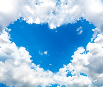 Sky with clouds forming a heart