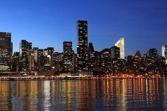 Skyline night new  york river lights city