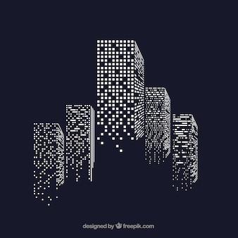 Skyscrapers with illuminated windows