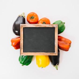 Slate above vegetables