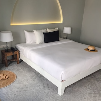 Sleeping mattress bright hostel background