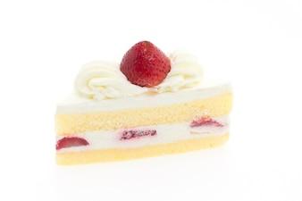 Slice of appetizing strawberry cake