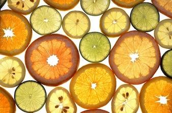 sliced lemons citrus fruits discs oranges lime
