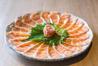 Sliced salmon sashimi