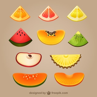 Slices of fruits vector